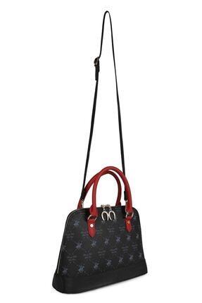 Beverly Hills Polo Club Kadın Desenli Omuz Çantası Siyah, Kırmızı 3