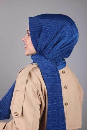 Asmira Kadın Mavi Düz Renk Pliseli Şal 0