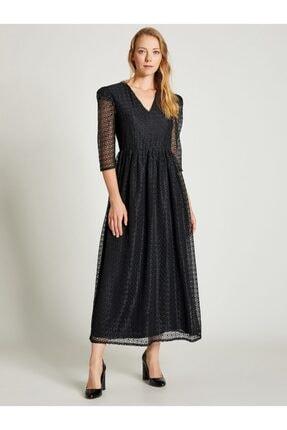 Vekem Kadın Siyah Beli Büzgülü Dantel Elbise 0
