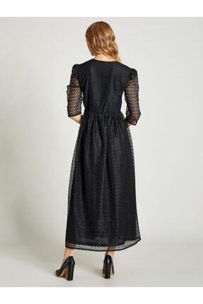 Vekem Kadın Siyah Beli Büzgülü Dantel Elbise 1
