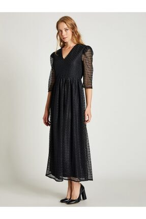Vekem Kadın Siyah Beli Büzgülü Dantel Elbise 2