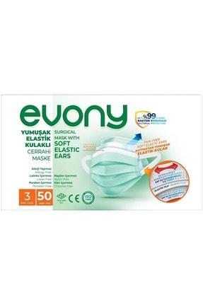 Evony 3 Katlı Filtreli Burun Telli Cerrahi Maske 100 Lü Set (yumuşak Elastik Kulaklı) 1