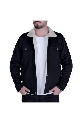 Efeel Fur Jacket Kürklü Erkek Mont Siyah Kalın Gabardin Ceket Kalın Kürklü Regular Fit 0