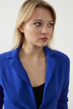 ELBİSENN Kadın Saks Atlas Kumaş Blazer Ceket Pantolon İkili Takım 1