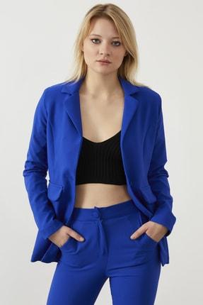 ELBİSENN Kadın Saks Atlas Kumaş Blazer Ceket Pantolon İkili Takım 2