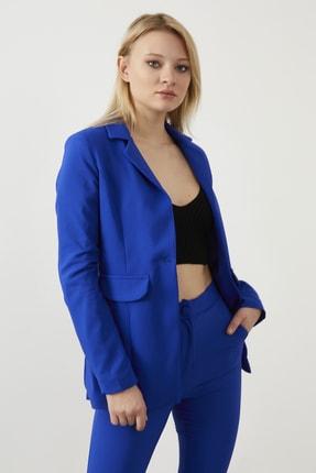 ELBİSENN Kadın Saks Atlas Kumaş Blazer Ceket Pantolon İkili Takım 3