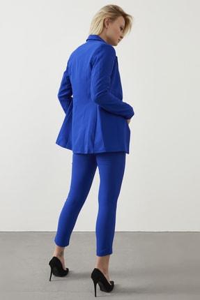 ELBİSENN Kadın Saks Atlas Kumaş Blazer Ceket Pantolon İkili Takım 4