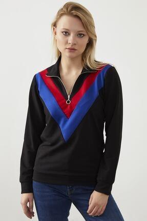 ELBİSENN Kadın Siyah Yaka Fermuar Detay Sweatshirt 0