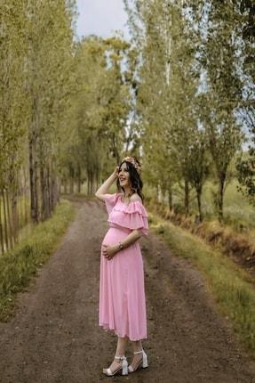 MACFLY Kadın Pembe Carmen Yaka Fırfır Elbise 3