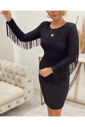 Sateen Kadın Siyah Püskül Detaylı Elbise 0