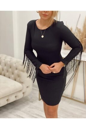 Sateen Kadın Siyah Püskül Detaylı Elbise 2