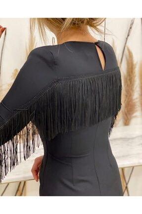 Sateen Kadın Siyah Püskül Detaylı Elbise 3