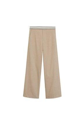 Mango Kadın Orta Kahverengi Beli Bağcıklı Düz Kesim Pantolon 67005131 3