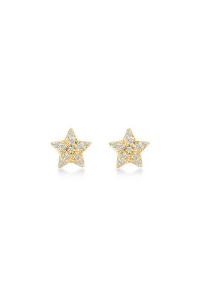 Gelin Pırlanta Kadın Altın 14 Ayar Pırlantalı Yıldız Küpe GLN300103 2