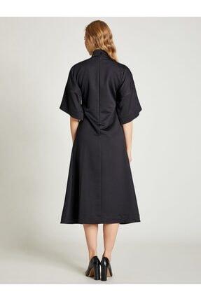 VKM Kadın Siyah Dik Yaka Rahat Kesim Elbise 2