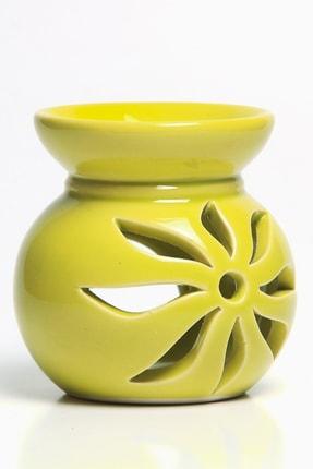 Mitr Lotus Motifli Fıstık Yeşili Seramik Buhurdanlık 0