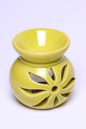 Mitr Lotus Motifli Fıstık Yeşili Seramik Buhurdanlık 1