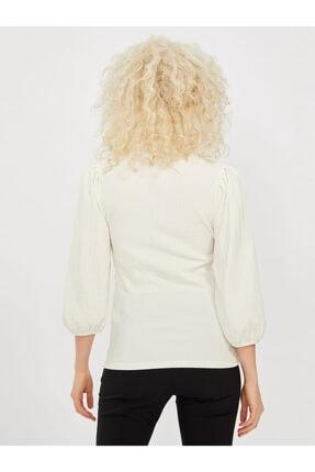 COOLSISTER Kadın Beyaz Yaka Bağlama Detaylı Bluz 1