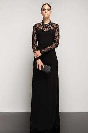 Laranor Dantel Detaylı Dudak Yaka Abiye Elbise 0