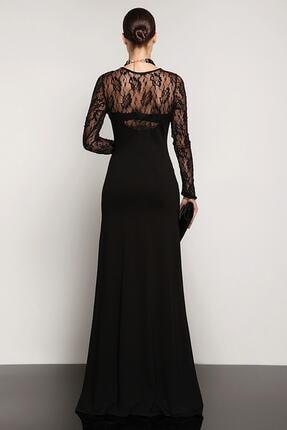 Laranor Dantel Detaylı Dudak Yaka Abiye Elbise 1