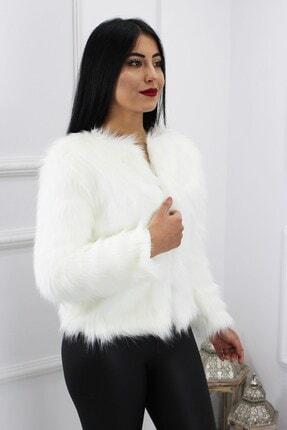 UGİMPOL Kadın Beyaz Kısa Kürk Ceket 1