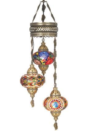 Mozaik 3lü Avize Sarkıt Otantik Lamba Renkli Sarkıt Lamba demmexavize31
