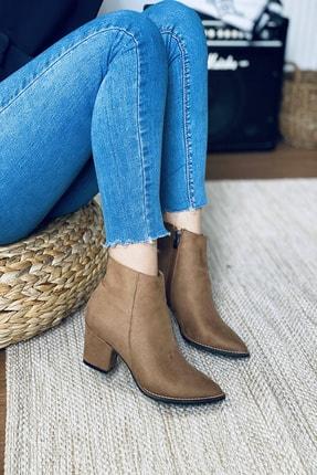 Mida Shoes Kadın Vizon Süet Sivri Burun Yarım Çizme 0