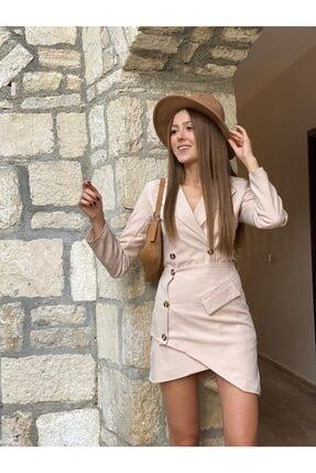 PAİ BUTİK Kadın Ceket Yakalı Asimetrik Etek Ceket Takım 2