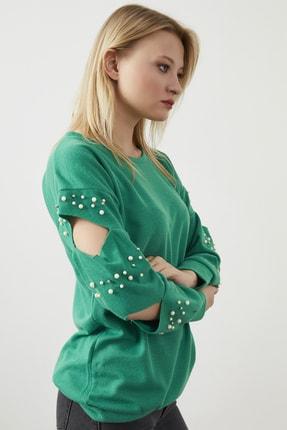 ELBİSENN Kadın Yeşil Kol Dekolteli Incili Iki Iplik Sweatshırt 2