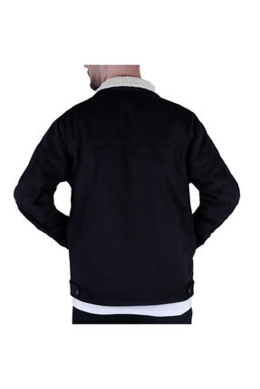 Efeel Fur Jacket Kürklü Erkek Mont Siyah Kalın Gabardin Ceket Kalın Kürklü Regular Fit 3