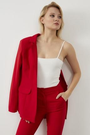 ELBİSENN Kadın Kırmızı Atlas Kumaş Blazer Ceket Pantolon İkili Takım 1