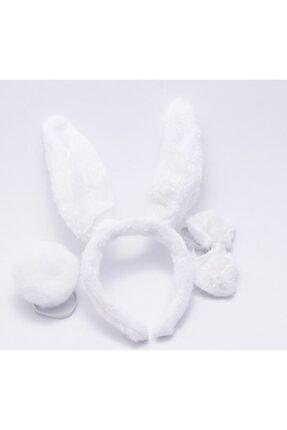 Cakes&Party Pofuduk Papyonlu Ve Ponponlu Tavşan Taç Set Beyaz 0332 0