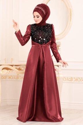 Kadın Bordo Tesettürlü Abiye Elbiseler - Tafta Tesettür Abiye Elbise 3755br HN-3755|00009_Bordo