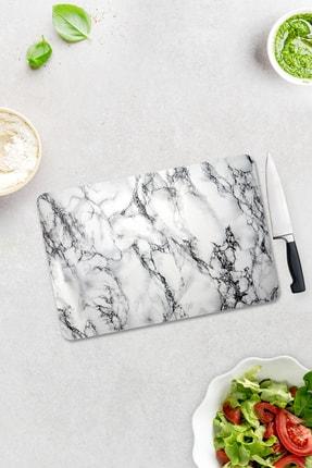 Decorita Beyaz Mermer Görünümlü | Cam Kesme Tahtası | 30cm X 40cm 1
