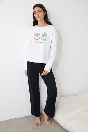 TRENDYOLMİLLA Lacivert Baskılı Örme Pijama Takımı THMAW21PT0721 1