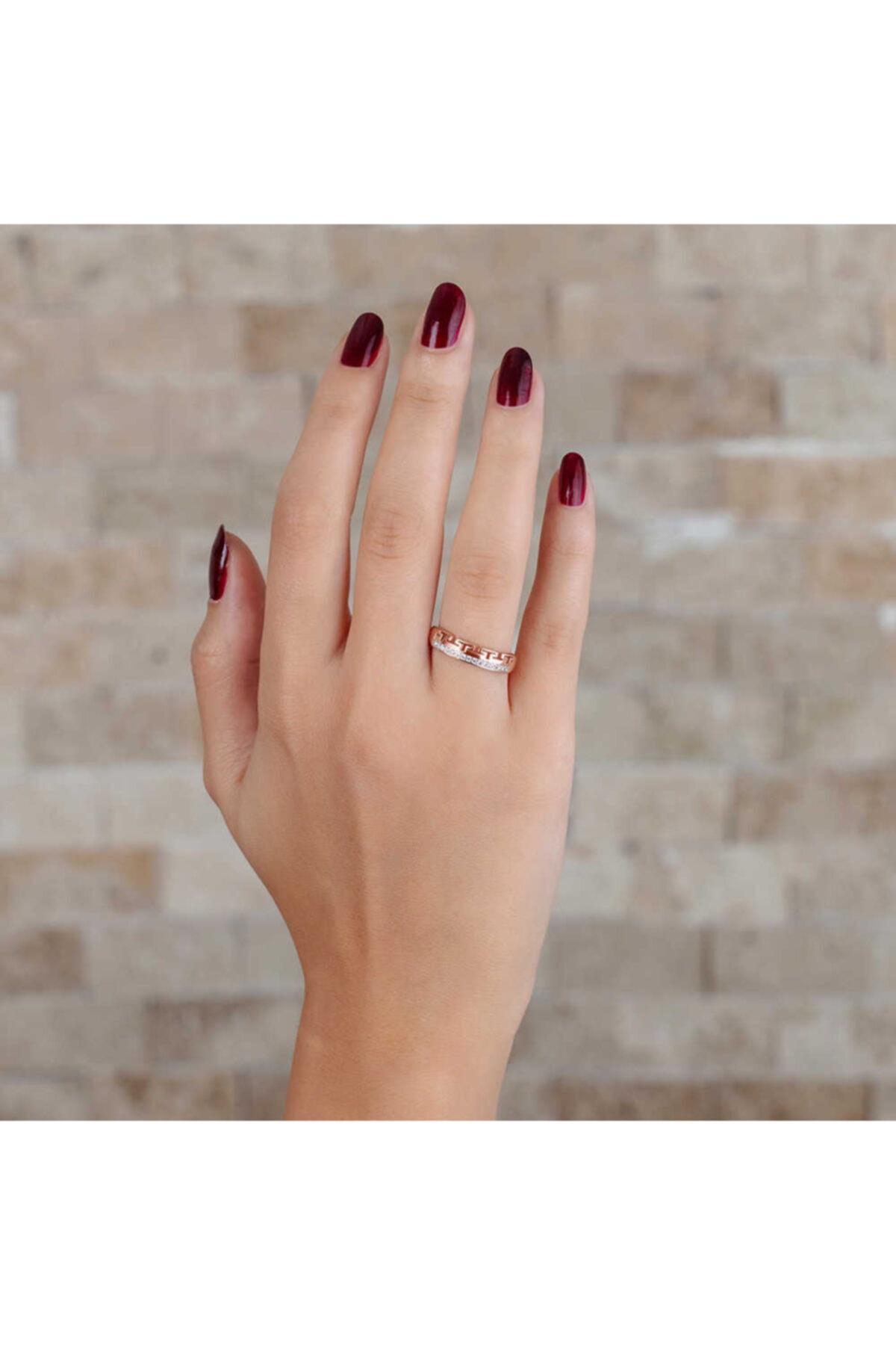 """Tesbihane Zirkon Taşlı """"t"""" Tasarım Rose Renk 925 Ayar Gümüş Bayan Yüzük"""