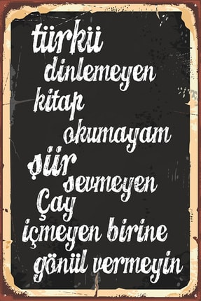 Rems Shop Türkü Kitap Çay Duvar Yazısı Retro Vintage Ahşap Poster 0