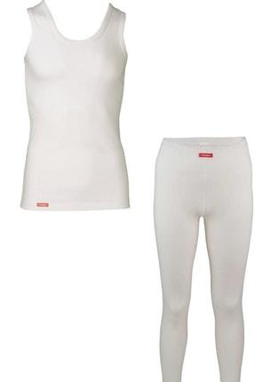 Picture of Çocuk Kız Erkek Unisex 2 Li Ekru Viloft Termal Atlet Içlik Ve Tayt Içlik Takımı 30005