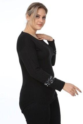 Womenice Kadın Siyah Kol Ucu Tüllü Pullu Büyük Beden Bluz 2