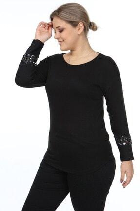 Womenice Kadın Siyah Kol Ucu Tüllü Pullu Büyük Beden Bluz 3
