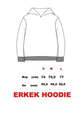 Click To Craft Erkek  Bordo Oversize Kapüşonlu Yazı Baskılı Sweatshirt 3