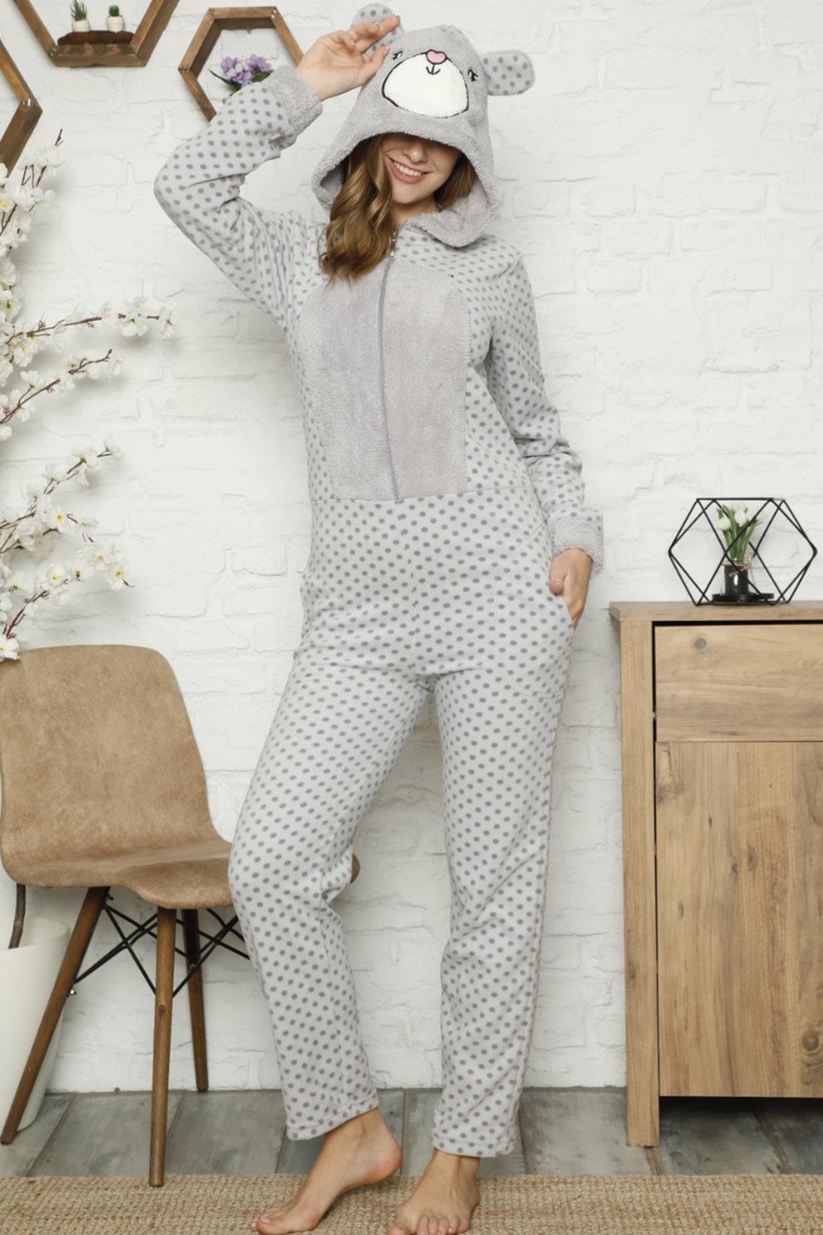 Pijamaevi Kadın Gri Mini Puan Desenli Kadın Polar Peluş Tulum Pijama 2