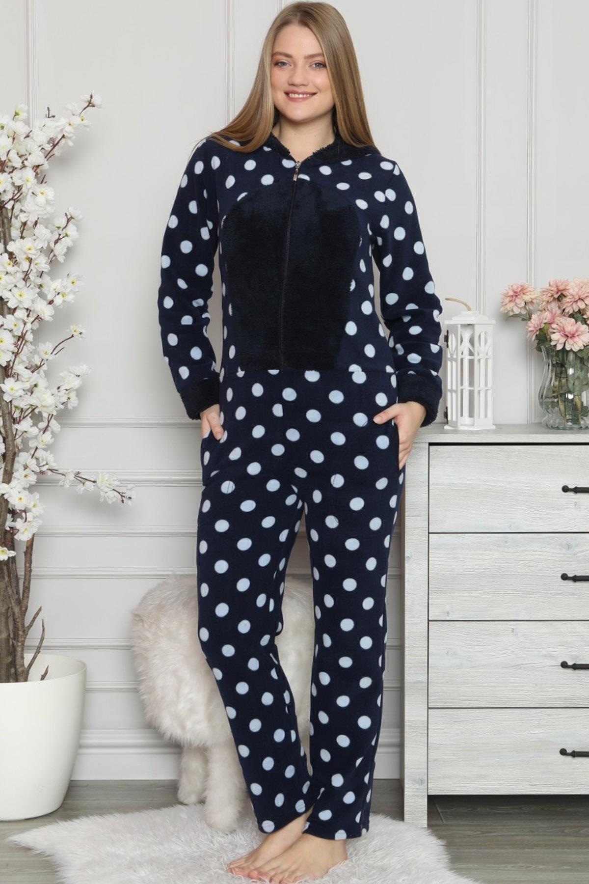 Pijamaevi Kadın Lacivert Büyük Puan Desenli Kadın Polar Peluş Tulum Pijama 1