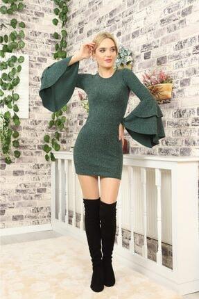 lovebox Kadın Ispanyol Kol Detaylı Uzun Kollu Esnek Triko Yeşil Elbise 0