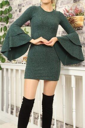 lovebox Kadın Ispanyol Kol Detaylı Uzun Kollu Esnek Triko Yeşil Elbise 1