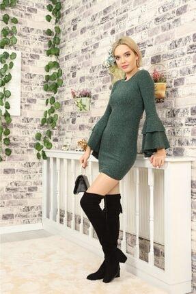 lovebox Kadın Ispanyol Kol Detaylı Uzun Kollu Esnek Triko Yeşil Elbise 3