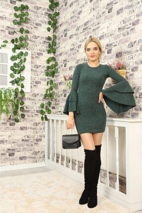lovebox Kadın Ispanyol Kol Detaylı Uzun Kollu Esnek Triko Yeşil Elbise 4