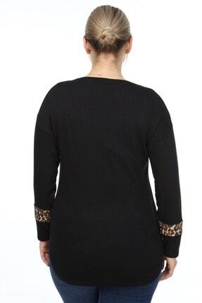 Womenice Kadın Siyah Kol Ucu Leoparlı Büyük Beden Bluz 3