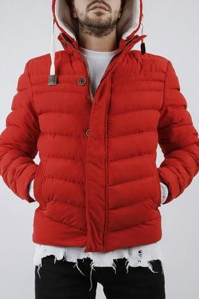 XHAN Erkek Kırmızı Kapüşonlu Comfort Slim Fit Şişme Mont 0yxe4-44076-04 1