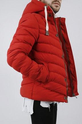 XHAN Erkek Kırmızı Kapüşonlu Comfort Slim Fit Şişme Mont 0yxe4-44076-04 3